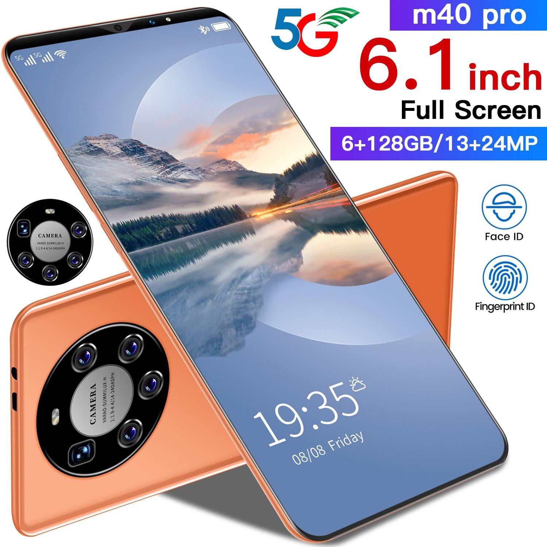 هاتف M40 Pro 6.1 Inch 128GB 4800mAh Deca Core Dual SIM + Micro SD هاتف ذكي 13 + 24 ميجابكسل لون برتقالي MTK6889 Andriod 10.0 هاتف خلوي