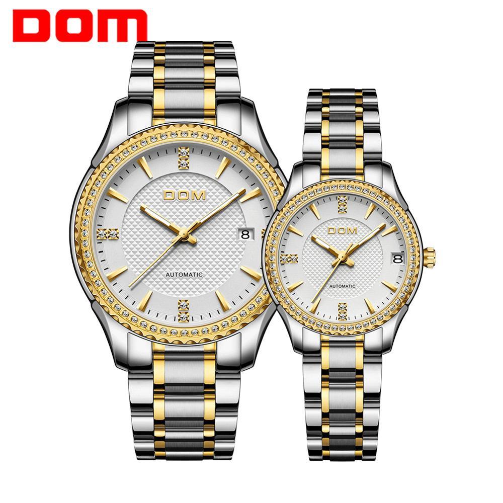 DOM Automatic mechanical watch women's watch men's watch waterproof   couple watch stainless steel luminous sport business