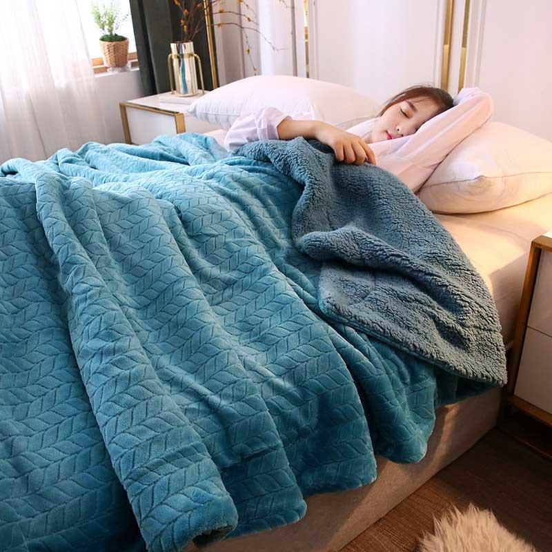 Manta gruesa de lana de Coral de 2 capas para sofá cama manta de tiro de franela cálida para una cama doble sábana de invierno cubierta de edredón