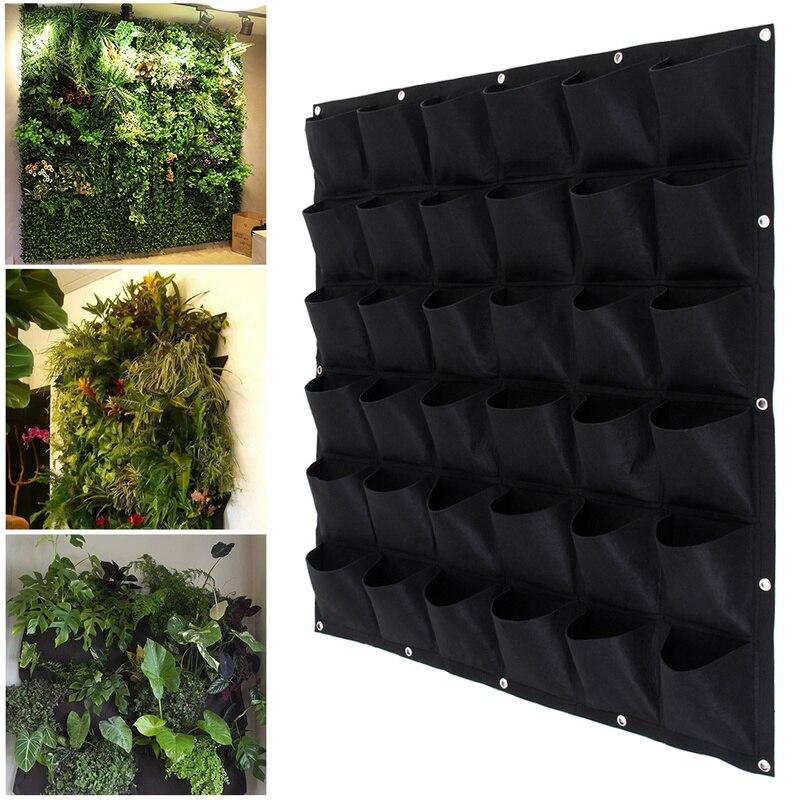 Jardim crescer saco bolsos vertical plantador parede-montado flor pendurado feltro plantio interior crescendo pote viver em casa