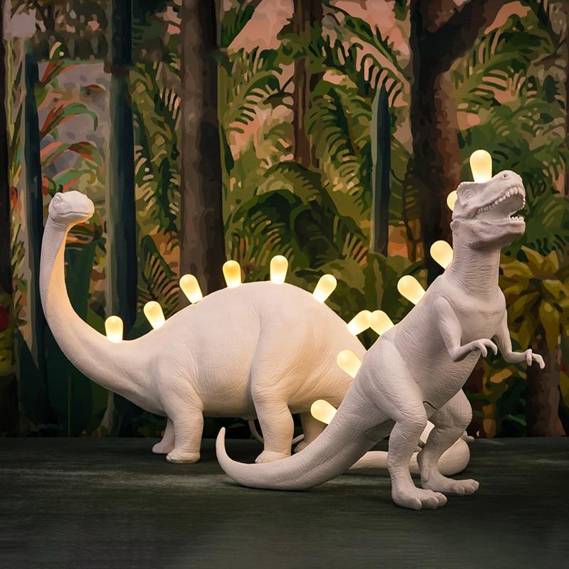 Dinosaur Night Light Table Lamps for Children Bedroom Resin Brontosaurus T-Rex Led Desk Lamp Luminaire Home Art Decor Light LEDS