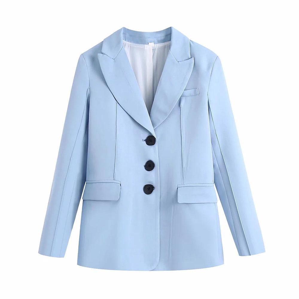 BBWM خمر أنيقة المرأة الأزرق سترة الموضة الإناث بدلة عمل بدوره إلى أسفل طوق واحدة الصدر معطف شيك الأعلى عادية Casaco
