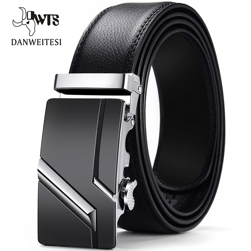 [DWTS]Men Belt Male Genuine Leather Belt Men Strap Belts For Men Automatic Buckle Black Men's Belts Cummerbunds cinturon hombre