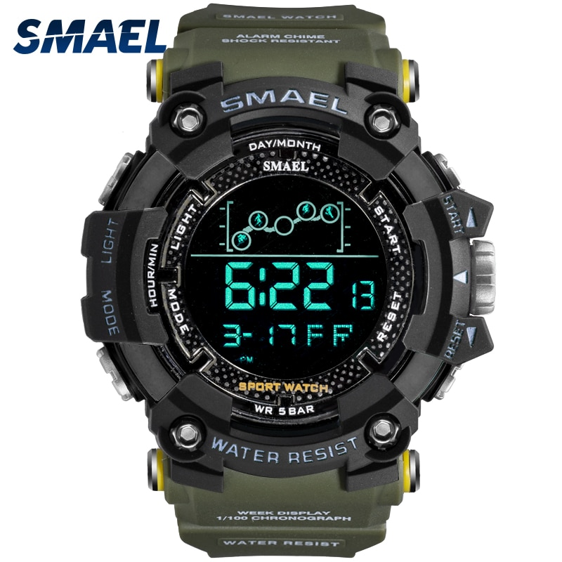 Mens Watch Military Water resistant SMAEL Sport watch Army led Digital wrist Stopwatches for male 18