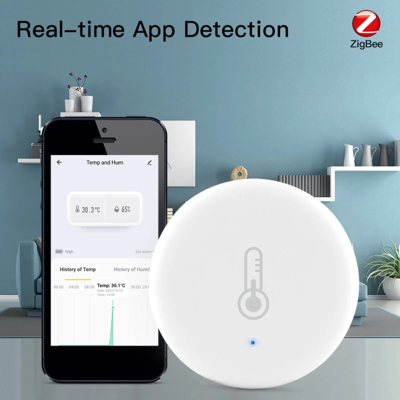 Temperature Humidity Sensor Built-in Battery Smart Home Building Automation Indoor Hygrometer Thermometer Detector Support Smart