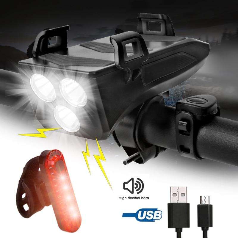 4 في 1 USB الدراجة الخفيفة 3 LED دراجة مصباح الجبلية الجبهة الدراجات الشعلة مع حامل هاتف و قوة البنك function iton