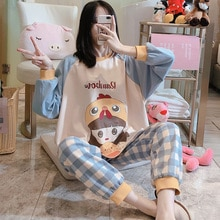 Spring and Autumn Pajamas Women's Plaid Pants Girl Long Sleeve Loose Pure Cotton Two-Piece Suit Kore