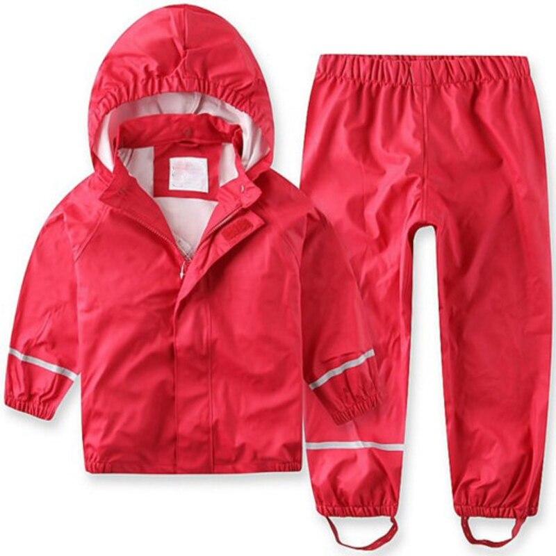2020 جديد بيع الصلبة كامل الأطفال الرياح المطر مقاوم للماء بولي Suit دعوى معطف واق من المطر السراويل ملابس الطفل و الربيع الخريف Mudproof الراقية
