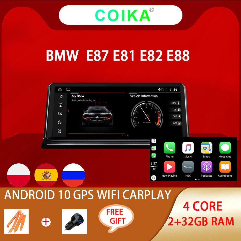 COIKA-نظام الوسائط المتعددة مع نظام تحديد المواقع العالمي للسيارة ، راديو ستيريو مع شاشة IPS ، Android 10.0 ، 2 32 جيجابايت من ذاكرة الوصول العشوائي ، Navi ...
