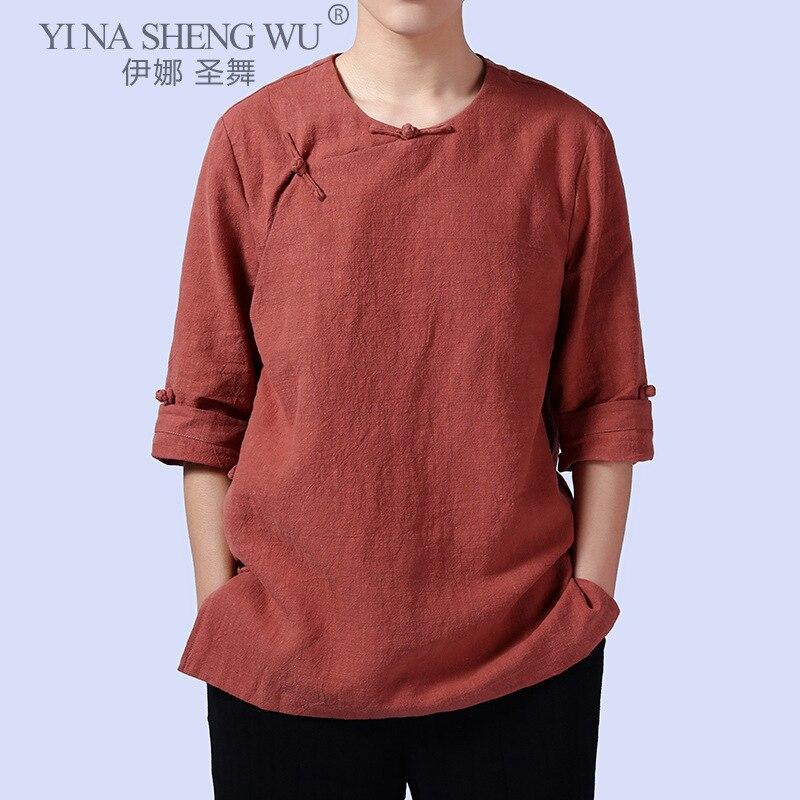 النمط التقليدي الملابس الصينية للرجال كيمونو القطن الكتان اليوسفي طوق قميص تانغ الرجال فضفاضة الرجعية العسكرية تاي تشي الزي