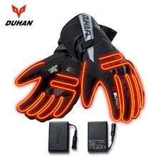 DUHAN Moto gants chauffants à piles Moto Guantes hiver imperméable gants déquitation en plein air garder au chaud Guantes Para Moto