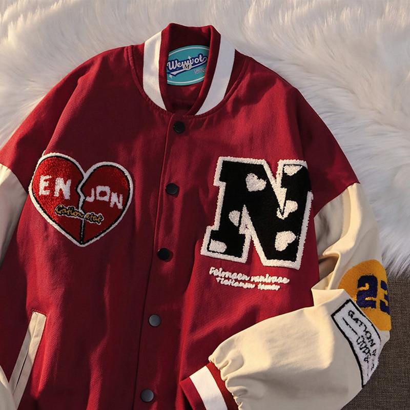 Biggorange бейсбольная куртка-бомбер с надписью Love, Женская куртка, женская одежда 2021, женская верхняя одежда в стиле Харадзюку, верхняя одежда в ...