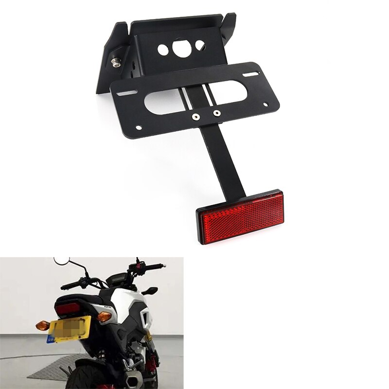 Para Honda Grom MSX125 2017-2019 soporte de matrícula de motocicleta trasera guardabarros limpio trasero eliminador de registro de aluminio negro