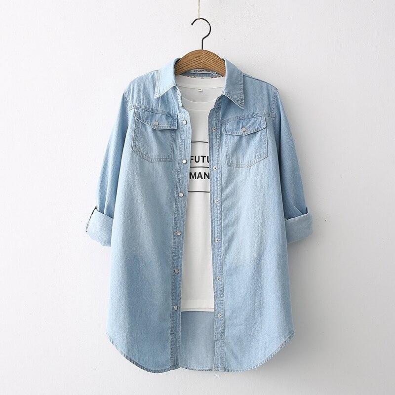2020 صيف جديد القطن الدنيم المرأة بلوزة والقمصان الأزرق سليم عادية كل مباراة سيدة قمصان أبلى معطف القمم