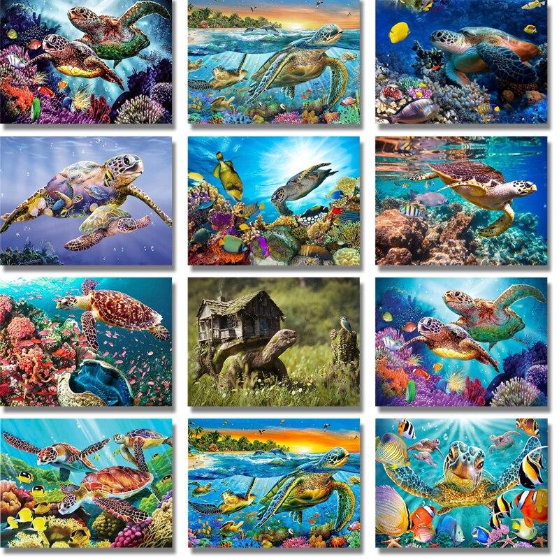 DIY 5D Diamant Mosaik Ozean Landschaft Volle Runde Diamant Malerei Meer Schildkröte Fisch Kreuz Stich Diamant Stickerei Neue Jahr Geschenk