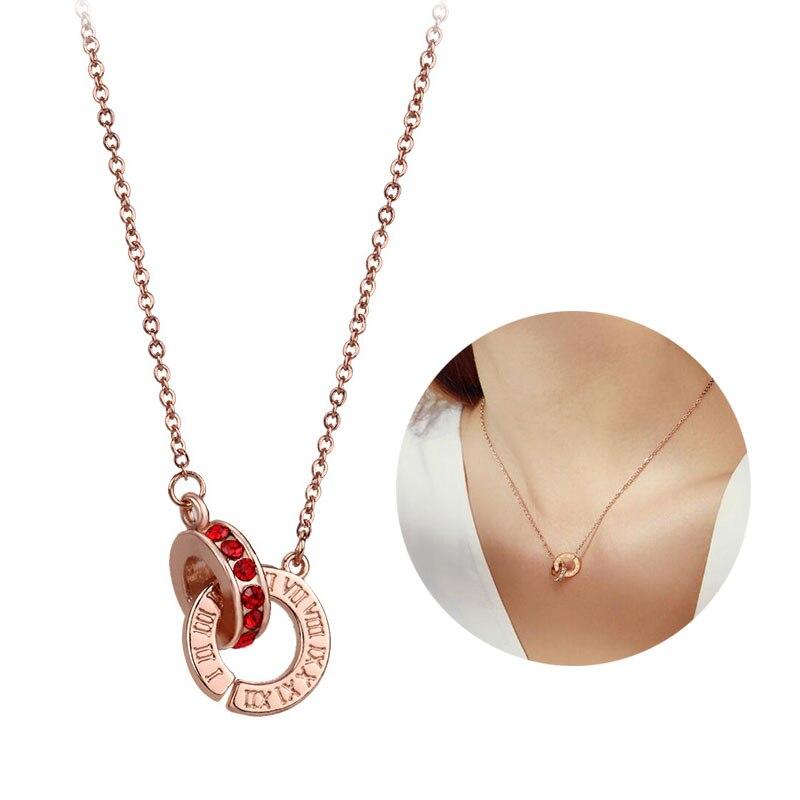 2020 neue S Hause Doppel Kreis Anhänger Halskette Rose Gold Schlüsselbein Kette Römischen Ziffern Strass Halskette Schmuck