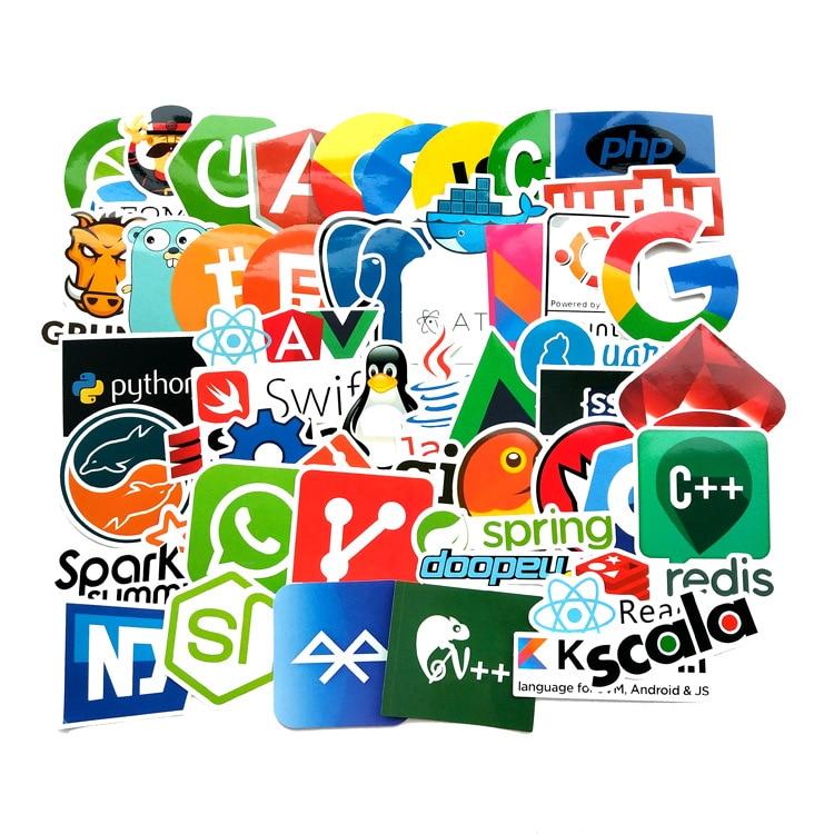 RETROMAX 50pcs Laptop Stickers Programming Laptop Stickers Hacker Java JS PHP Docker Bitcoin HTML Cloud Language DIY Stickers