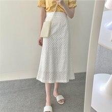 Alien Kitty 2020 White Embroidery Hook Flowers Vintage Female High Waist Gentle Fashion All Match Stylish Sweet Girls Skirts