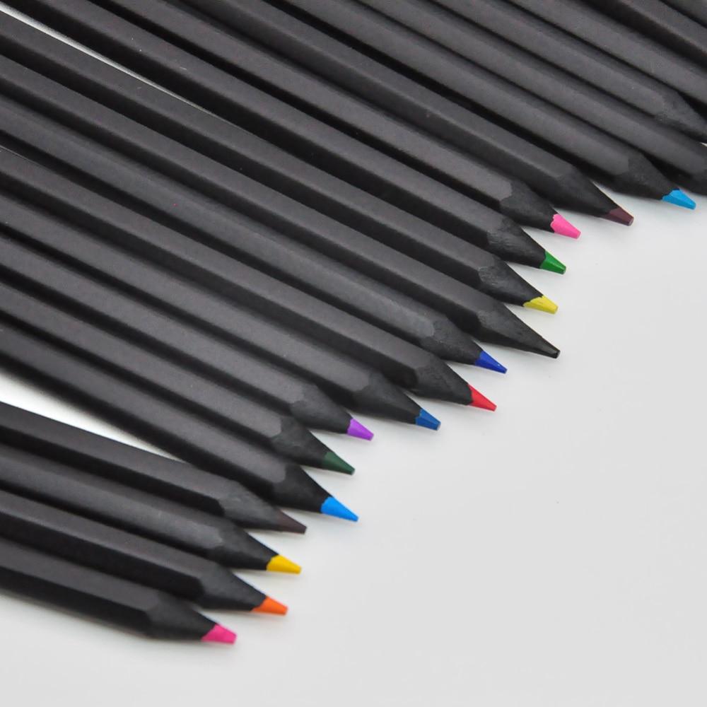 12 /24 lápices de colores diferentes Kawaii escuela negro lápiz de dibujo de madera lápices de colores Oficina escuela papelería