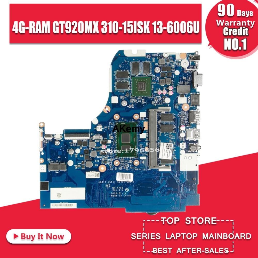 NM-A751 اللوحة المحمول لينوفو 310-15ISK 510-15ISK اللوحة الأصلية 4G-RAM I3-6006U/6100U GT920MX