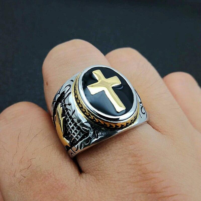 Hommes Hip hop Vintage argent or noir bicolore sainte croix chevalière anneau prière chrétien jésus religieux Cocktail Valentine