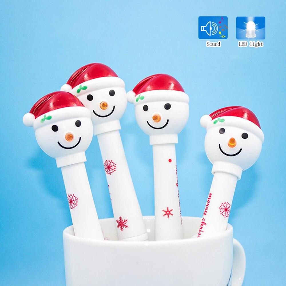 1 Uds muñeco de nieve de Navidad bolígrafo multifuncional LED sonido de la luz niños electrónicos artículos de oficina bolígrafo para escribir Gifrt