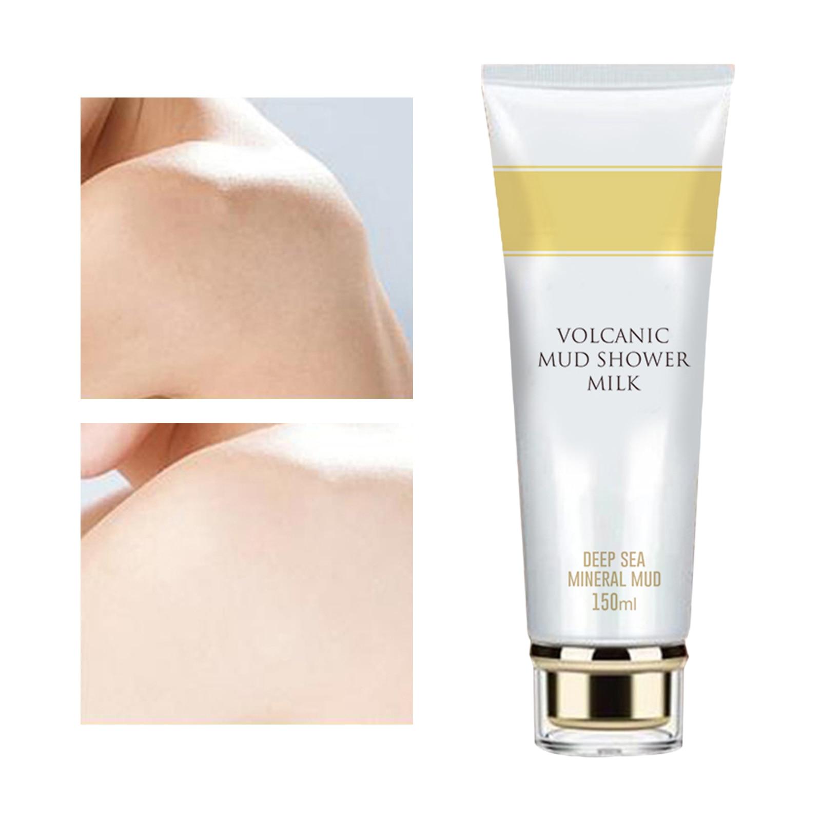 Volcanic Mud Shower Gel Whitening Bath Milk Cream Body Wash Exfoliating Body Lotion Brightening for Men Women Skin Lightening