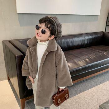 Детская куртка, новинка зимы 2020, меховое пальто средней длины для мальчиков и девочек, однобортное плотное Детское пальто