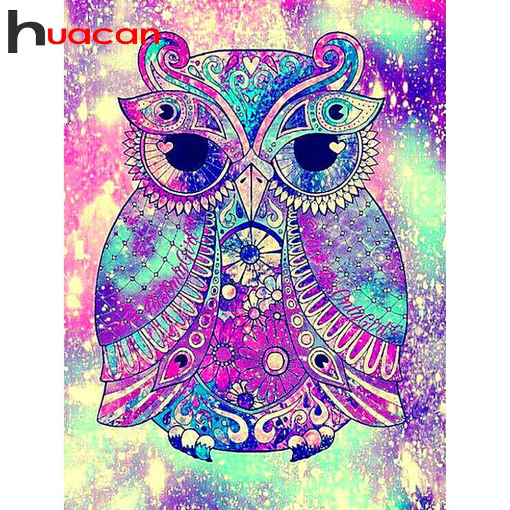 Huacan, búho con mosaico de diamante, Kit de punto de cruz, bordado de diamantes, piedras redondas cuadradas, accesorios de pintura de diamantes para decoración del hogar