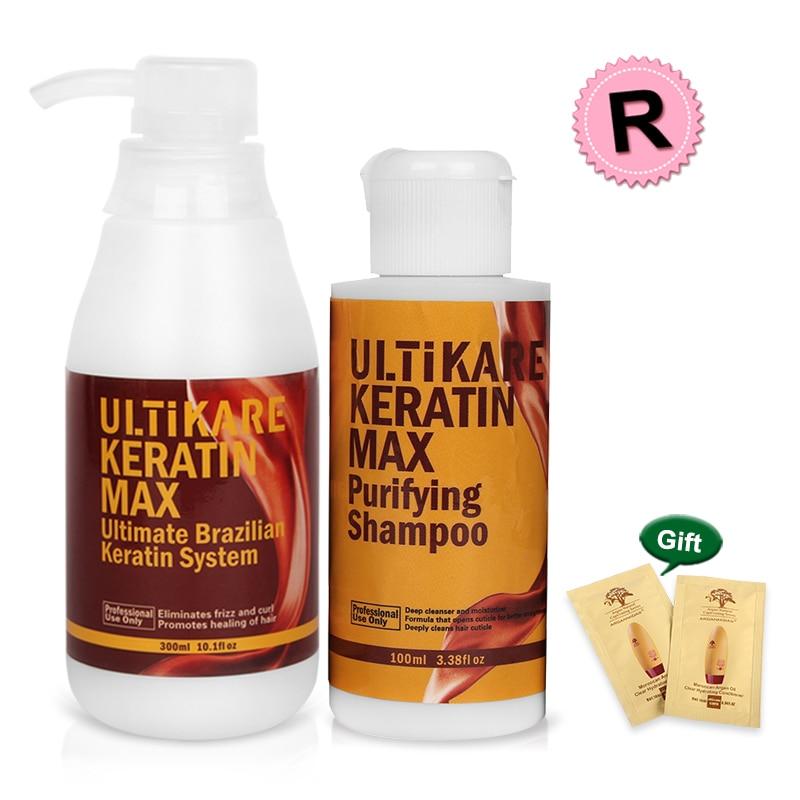 Бразильские 300 мл кератин 12% Формалин лечение волос для поврежденных вьющихся волос + 100 мл Очищение + Бесплатный подарок