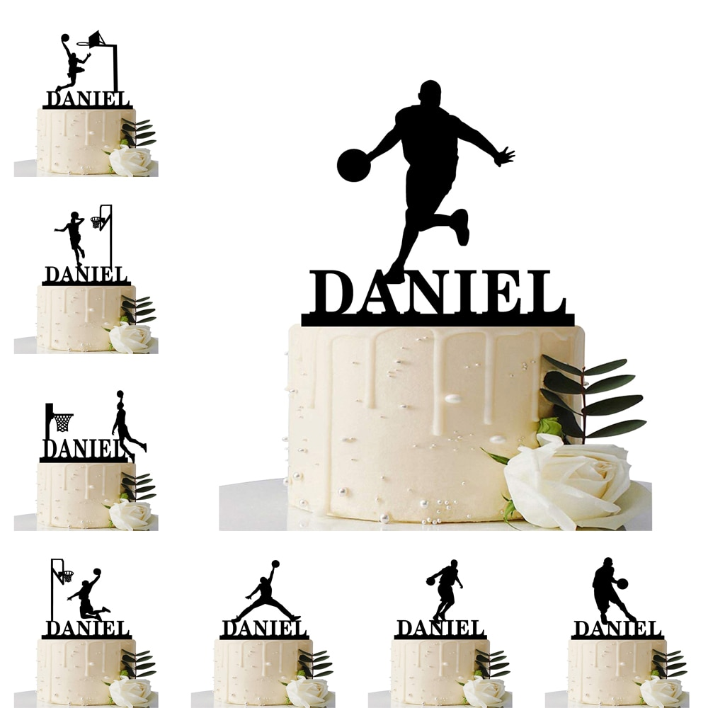 Custom Basketball Theme Name Acrylic Birthday Cake Topper Sports Style Personalized Dunk Team Name Party Cake Toppers Decoration