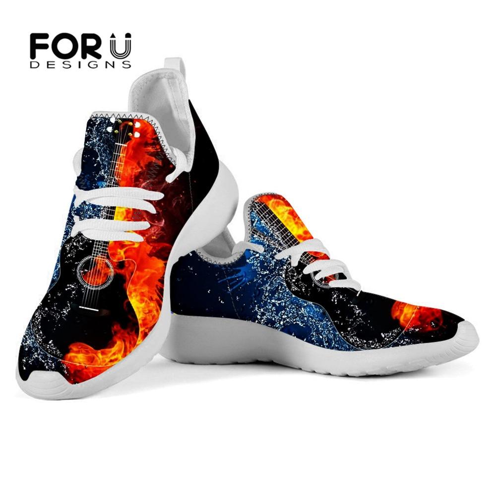 FORUDESIGNS Fire Guitar zapatos planos de moda para mujer, zapatos casuales de malla de aire, zapatos de punto con cordones, zapatillas transpirables para mujer