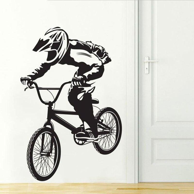 Adhesivo de bicicleta para pared ciclistas Hobby vinilo decoración para el hogar para niños habitación extraíble calcomanía artística mural papel tapiz