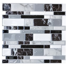 Black Grey Marble 3D Tile Peel and Stick Self Adhesive PET Waterproof Wall Sticker Kitchen Bathroom Decor 27*25.5cm
