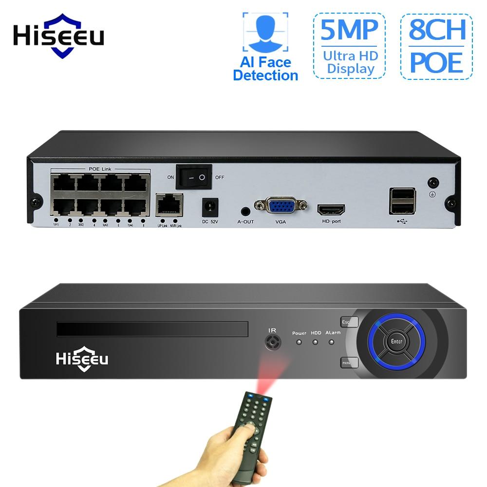 Hiseeu H.265 4/8CH POE NVR الأمن IP كاميرا فيديو مراقبة نظام الدائرة التلفزيونية المغلقة P2P 5MP2MP شبكة مسجل فيديو الوجه كشف