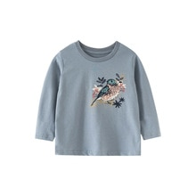 Little maven girls Autumn Toddler Girls Long Sleeve Tops Birds embroidery T Shirt Cotton Kids Children's Baby Fall Clothing