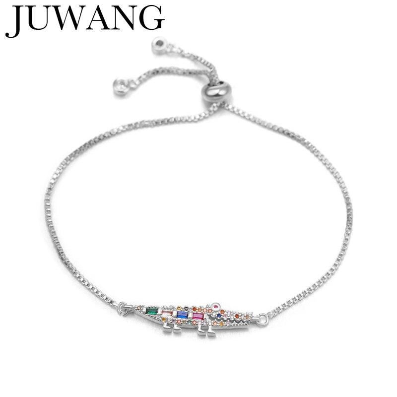 CZ Arco Iris cocodrilo encanto pulsera mujer ajustable Zirconia oro plata Color pulsera regalo de joyas de fiesta