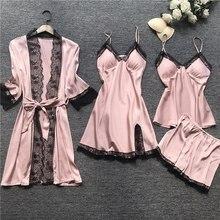 2021 Women Pajamas Sets Satin Sleepwear Silk 4 Pieces Nightwear Pyjama Spaghetti Strap Lace Sleep Lo