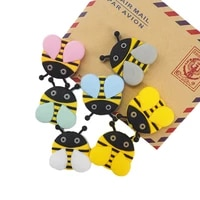 chenkai 50pcs silicone bee teether beads diy baby shower animal cartoon necklace chewing pacifier dummy sensory toy accessories
