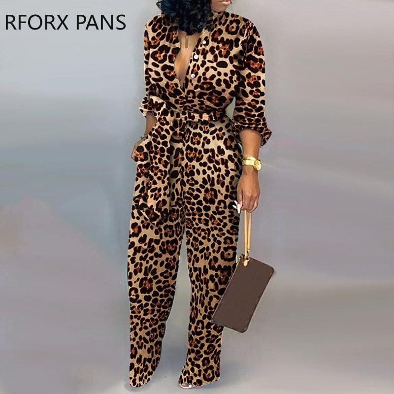 Leopardo amarrado cintura manga longa macacão feminino macacão