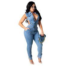 2021 Single Breasted Women's Denim Jumpsuit Sleeveless Trousers Fashion Jeans Ladies Slim Jumpsuit S