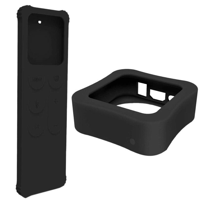 Carcasa remota y caja de TV funda protectora para Apple TV 4K 5Th / 4Th-[antideslizante] cubierta de silicona a prueba de golpes para Apple TV