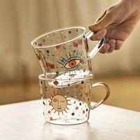 boussac 500ml creative scale glass mug breakfast mlik coffe cup household couple water cup sun eye pattern drinkware