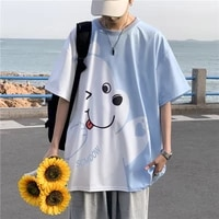 short sleeved t shirt mens summer trend loose round neck mid sleeve korean anime cartoon bear hit color casual oversize top