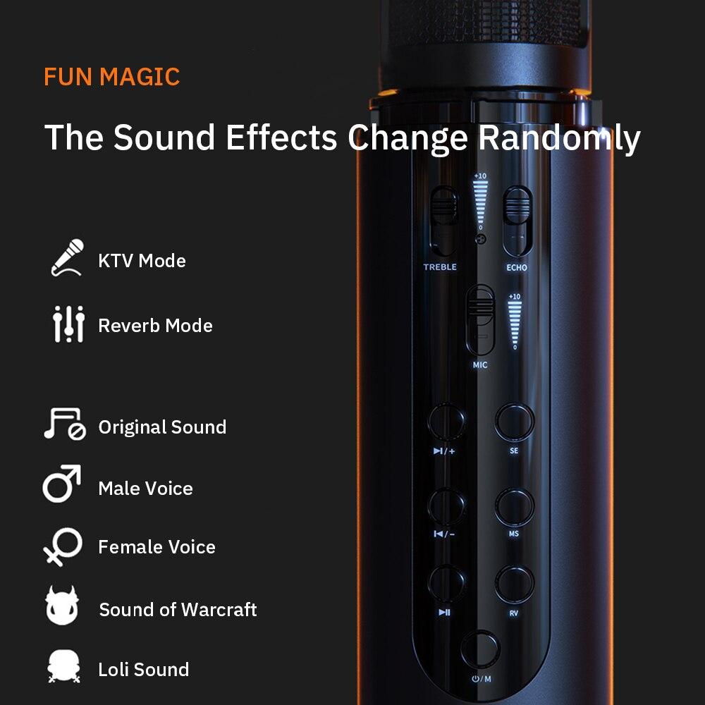 Wireless Bluetooth Studio Microphone for Phone Karaoke Microphone Speaker Micro Built-In Sound Card Voice Changer enlarge