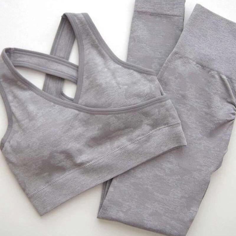 Women Seamless Yoga Set Gym Clothing Sports Wear Camo Leggings+Sports Bra 2 Piece Jogging Sport Clothes Femme Workout Set Outfit