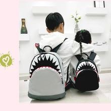 Childrens Backpack Kids Shark School Bags Baby Child Kindergarten Boys Girls Child Canvas Cartoon Backpack Casual Black,gray