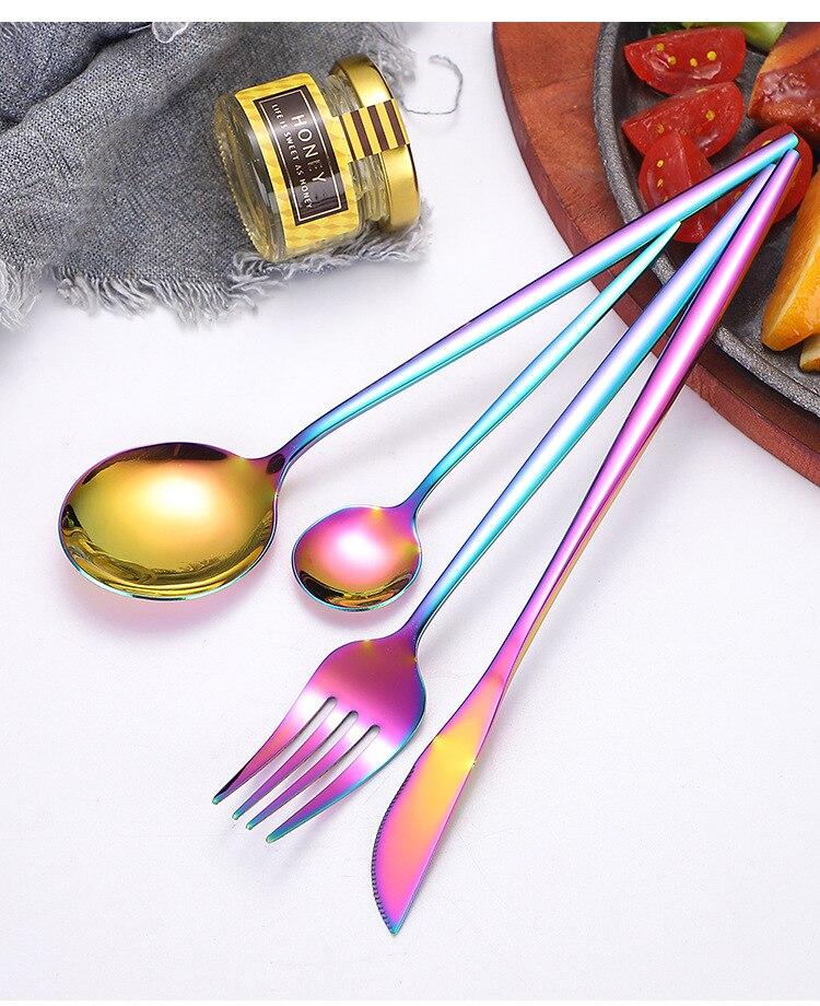 1 Juego de cubiertos de Oro Negro 18/10 vajilla de acero inoxidable juego de cubiertos cuchillo de cena tenedor cuchara Dropshipping XB 041