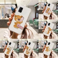 luxury bear letters phone case transparent for samsung a51 a50 a71 a70 a81 m60s note s21 s 20 10 9 8 11 e plus ultra