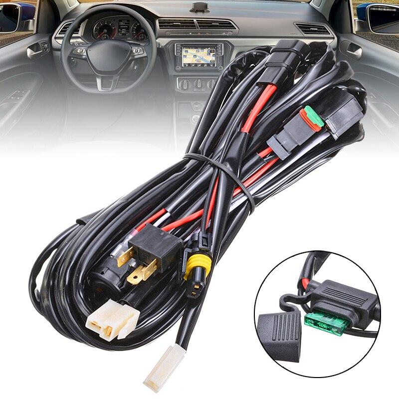 1 Juego de 40 a 12V LED Plug & Play luz de conducción cableado Kit arnés inteligente HB3 + H4 Piggy Back adaptadores interruptor a prueba de agua accesorios